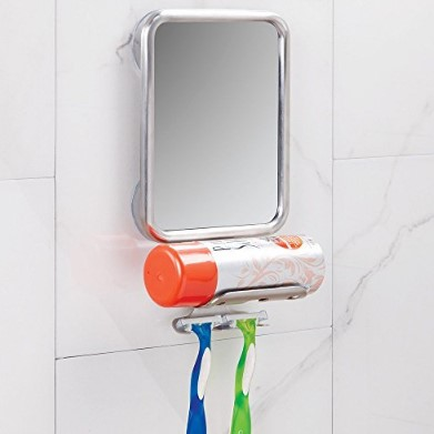 InterDesign Forma Bathroom Shower Suction Fog Free Mirror Razor Holder